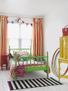 B: Bright Green Bed - The ABC's of DIY Decorating on HGTV