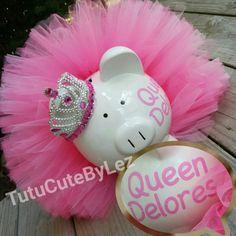 Princesa rosa grande personalizada Tutu Piggy Bank