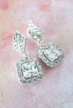 Deluxe Cubic Zirconia Halo style Square Diamond dangle Earrings, Silver Bridal Cubic Zirconia earrings, Classic Hollywood, www.glitzandlove.com