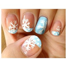 The Coolest Snowflake Nail Art To Sport All Winter Long ❤ liked on Polyvore featuring nails, makeup, nail art and nail polish
