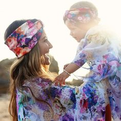 Mommy & Me turbans and kimonos from Wild & Whimsy.
