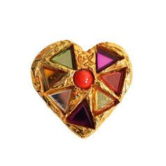 Christian Lacroix Heart Brooch with Glass Inlay