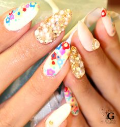 Colorflu flowers girly long nail #plusG #nail #nailart #naildesign