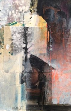Mixed Media,Collage Art Painting To Sit in Stillness by Intuitive Artist Joan Fullerton, painting by artist Joan Fullerton
