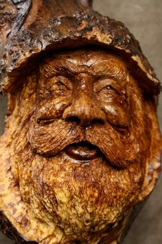 Wood Spirit Wood Carving Christmas Gift for by TreeWizWoodCarvings, $265.00