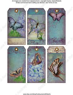 Digital Butterfly  Collage Sheet Printable Download Images 2.1 x 4.25 E14-05F Jewelry Holders Gift Tags, watercolor vintage Paper Scrapbook Manila tag...