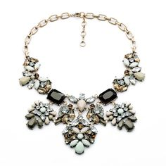Free Shipping Brand Pastel Floral Statement Necklace Vintage Crystal and Resin Stone Necklaces Pendants