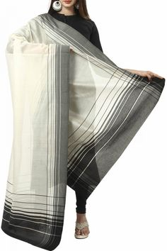 Beige & Black Striped Cotton Silk Maheshwari Dupatta