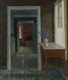 Veikko Vionoja, Finnish Interior, oil on canvas, 100 x 85 cm, private collection Exterior Paint, Interior And Exterior, Interior Walls, Digital Museum, Dark Interiors, Collaborative Art, Painting Gallery, Room Paint, Art Boards