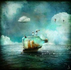 Un barco en una botella que navegaba por el ancho mar - Alexander Jansson