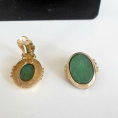 Earrings signed Whiting Davis clip on goldtone Malachite oval cabochons green  #WhitingDavis #clipon
