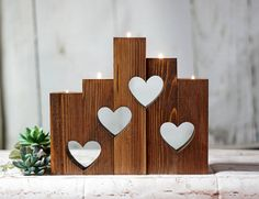 Wood Hearts Candle Holder Set of 55th anniversary
