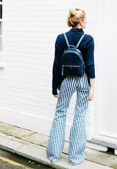 2017 Idea #3: Gingham will be the print of spring/summer, so why not wear it now via a pair of flares and with a navy roll-neck?