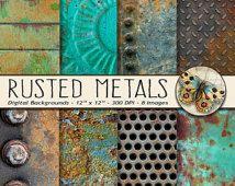 Texturas de Metal oxidados y corroídos, Set de foto de Metal oxidado 8 texturas, papel de textura Digital, descarga inmediata