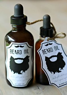 Beard Oil Recipe with free printable labels for easy gift giving! Easy DIY recipe using a manly essential oil blend. Exceptional for skin and hair health!