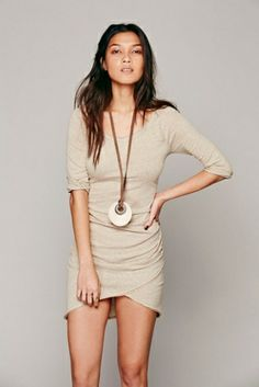 FREE PEOPLE The james nude dress found on NUDEVOTION #nudedress