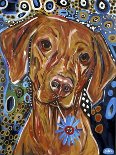 "Universe of goods - Buy ""Unframed Colorful Dog With Flower In Mouth Modern Canvas Oil Painting Home Wall Art Prints Unique Gift For Home Decoration"" for only USD. Dachshund, Paint Your Pet, Gustav Klimt, Simple Acrylic Paintings, Dog Crafts, Dog Portraits, Animal Paintings, Dog Art, Find Art"