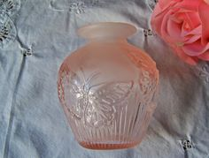 Vintage Pink Depression Glass Butterfly Vase by cynthiasattic, $24.00