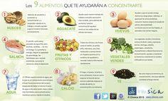 9 alimentos que te ayudarán a concentrarte #infografia