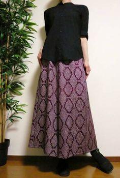 鎌倉まるか堂 着物リメイク 絞り菱文葡萄色ゆるりパンツ♪絹