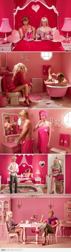 Barbie and Ken's marriage in real life...A real life photo shoot by Dina Goldstein