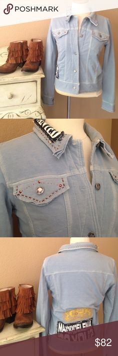MAJOR DE*LEMA Baby blue edgy jacket. Super fun MAJOR DE*LEMA Baby blue edgy detailed jacket. So stretchy and soft! Lightweight. Size Medium. Only reasonable offers please. Manor Delema Jackets & Coats Jean Jackets