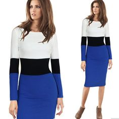 Womens Casual Slim Pencil Lady Stripe Dress