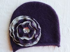 recycled purple sweater hat handmade by miraclemittens