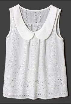 Peter Pan Collar Eyelet White Top