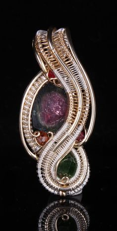 wire wrapped pendent, (Watermelon vines), unique gift, Watermelon Tourmaline, chrome, love, garnets, handmade jewelry by Nick Noyes. $350.00, via Etsy.