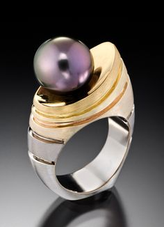 Striking design from Adam Neeley, San Francisco, Laguna Beach Gems Jewelry, Pearl Jewelry, Jewelry Art, Jewelry Accessories, Fine Jewelry, Jewelry Design, Unique Jewelry, Jewlery, Tahitian Pearls