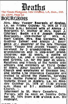 Bourgeois, May Yeager Obituary
