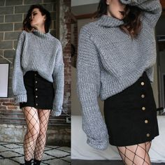 16 Ways to wear fishnet stockings and look stylish – Red Unicorn Grunge Outfits, Tumblr Outfits, Fall Outfits, Casual Outfits, Socks Outfit, Sweater Skirt Outfit, Street Style London, Fishnet Outfit, Cute Fashion