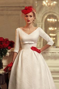 Tatiana Kaplun Bridal Collection 2015 | Wonderfully Designed Bridal Gown! 3/4 Length Sleeves, V Neckline, Belt At Empire Waist, Low Cut V Back, Full Skirt, Court Train·····