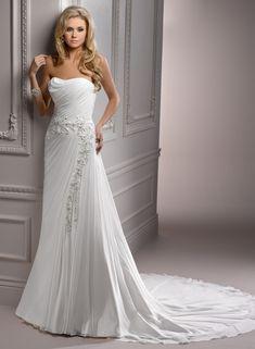 Gossamer Chiffon Soft Curved Neckline A-line Wedding Dress
