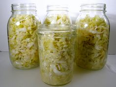 With cabbage season come the desire to make sauerkraut. Homemade sauerkraut doesn't even compare to the store-bought. It is tart, crunchy, and unbelievably good. Add your homemade sauerkraut to hot dogs, sausages, and eve Homemade Sauerkraut, Sauerkraut Recipes, Fermentation Recipes, Canning Recipes, Probiotic Foods, Fermented Foods, Fermented Cabbage, Pickled Cabbage, Exotic