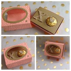 hugs and kisses treat box - Liz Vickerman, not just for valentine's day - matchbox style holds a ferro roche candy. Valentine Treats, Valentine Day Crafts, Love Valentines, 3d Paper Crafts, Paper Gifts, Envelope Punch Board, Tarjetas Diy, Treat Holder, Party Favors
