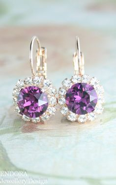 Rose gold crystal earrings, Amethyst crystal earrings | Purple wedding | Purple bridesmaid earrings | Amethyst February birthstone | #EndoraJewellery
