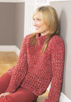 Openwork crochet gives this pullover an airy feel. Shown in Patons Bohemian.