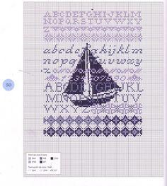 Purple sailboat alphabet sampler cross stitch - free chart - free pattern
