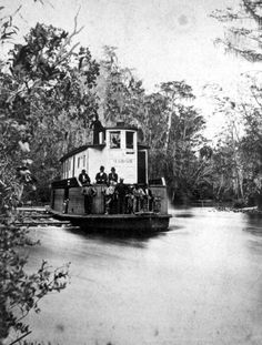 """Steamboat """"Marion"""" on the Ocklawaha River - Iola, Florida (There was a town Iola, FL on the Apalachicola River 59 miles north of Old St.Joe so I am thinking the Iola here might be Lake Iola but not sure - could have been 2 towns in Florida by that name.)"""