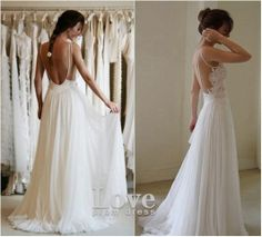 bkbk11's save of Custom Made A line Chiffon Backless Lace Wedding Dresses, White Long Lace Prom Dresses, Bridal Dresses, Wedding Party Dresses on Wanelo
