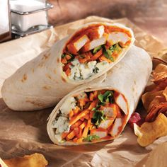 BUFFALO CHICKEN WRAPS - If you don't like bleu cheese, you can substitute with  ranch.
