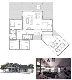 Modern Small House Plan, Abundance of natural light., three bedrooms, suitable to wide lot. Floor Plan.