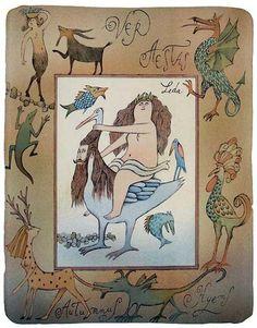 "Adolf Born Illustration. ""Leda and the Swan."""