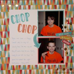 Scrapbook layout about hair cuts. Bright color and easy design.