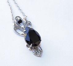 Victorian Black Crystal Drop Necklace