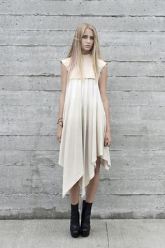 organic cotton dress with vegetable tanned overlay