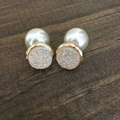 Ivory Druzy and Pearl Double Sided Earrings