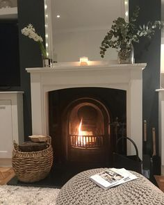 Cost fire in living room with white mantelpiece and overmantel mirror. Room, Home Living Room, Home Fireplace, Home Decor, Room Inspiration, House Interior, Cosy Room, Living Room Inspiration, Home And Living